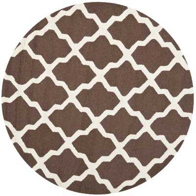 Charlenne Hand-Tufted Wool Dark Brown/Ivory Area Rug Rug Size: Round 4