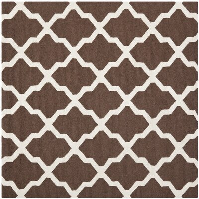 Charlenne Hand-Tufted Wool Dark Brown/Ivory Area Rug Rug Size: Rectangle 6 x 6