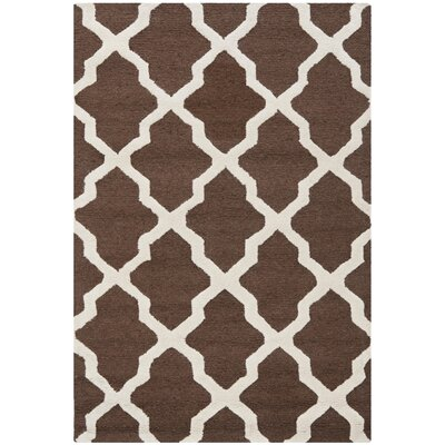 Charlenne Hand-Tufted Wool Dark Brown/Ivory Area Rug Rug Size: Rectangle 26 x 4