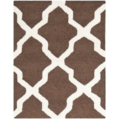 Charlenne Dark Brown & Ivory Area Rug Rug Size: 2 x 3