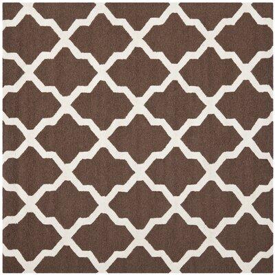 Charlenne Dark Brown & Ivory Area Rug Rug Size: 6 x 6