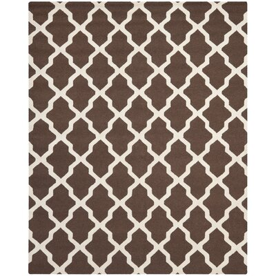 Charlenne Dark Brown & Ivory Area Rug Rug Size: 8 x 10
