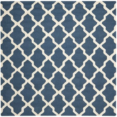 Charlenne Lattice Hand-Tufted Wool Navy Blue/Ivory Area Rug Rug Size: Square 8