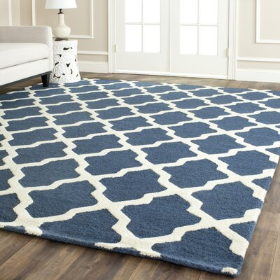 Charlenne Lattice Hand-Tufted Wool Navy Blue/Ivory Area Rug Rug Size: Rectangle 76 x 96