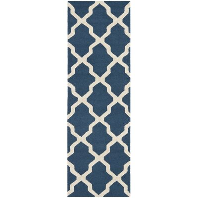 Charlenne Lattice Hand-Tufted Wool Navy Blue/Ivory Area Rug Rug Size: Runner 26 x 22