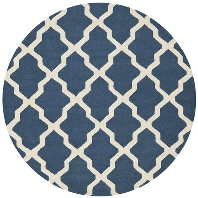 Charlenne Lattice H-Tufted Wool Navy Blue Area Rug Rug Size: Round 6