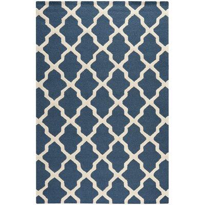 Martins Lattice Navy Blue/Ivory Area Rug Rug Size: 76 x 96