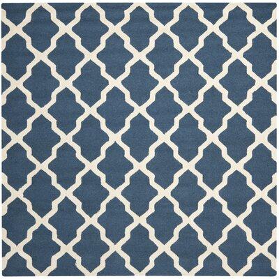 Martins Lattice Navy Blue/Ivory Area Rug Rug Size: Square 4