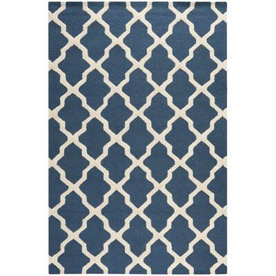 Charlenne Lattice Navy Blue/Ivory Area Rug Rug Size: 9 x 12