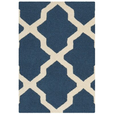 Charlenne Lattice Navy Blue/Ivory Area Rug Rug Size: 2 x 3