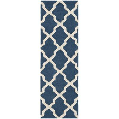 Martins Lattice Navy Blue/Ivory Area Rug Rug Size: Runner 26 x 10