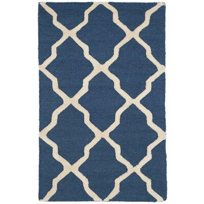 Martins Lattice Navy Blue/Ivory Area Rug Rug Size: 26 x 4