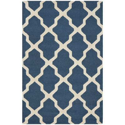 Charlenne Lattice Navy Blue/Ivory Area Rug Rug Size: 3 x 5
