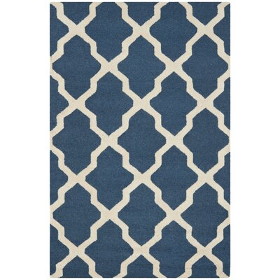 Charlenne Lattice Navy Blue/Ivory Area Rug Rug Size: 4 x 6