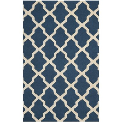 Charlenne Lattice Navy Blue/Ivory Area Rug Rug Size: 5 x 8
