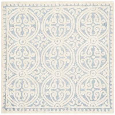 Martins Hand-Tufted Wool Light Blue/Ivory Area Rug Rug Size: Square 4