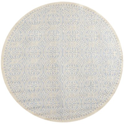 Martins Hand-Tufted Wool Light Blue/Ivory Area Rug Rug Size: Round 8