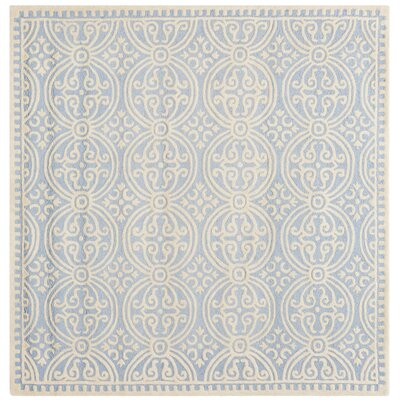Martins Light Blue & Ivory Area Rug Rug Size: Square 10