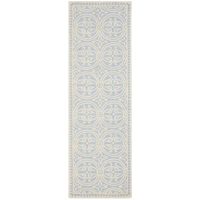 Martins Hand-Tufted Wool Light Blue/Ivory Area Rug Rug Size: Runner 26 x 22