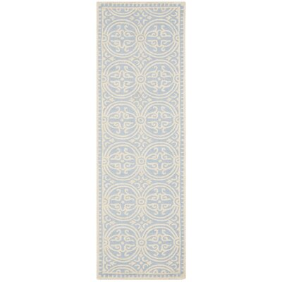 Martins Light Blue & Ivory Area Rug Rug Size: Runner 26 x 16
