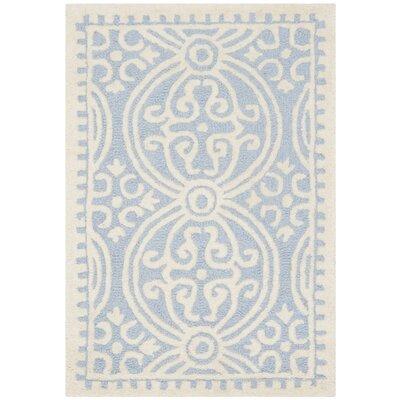 Martins Light Blue & Ivory Area Rug Rug Size: 2 x 3