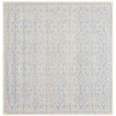 Martins Light Blue & Ivory Area Rug Rug Size: Square 6