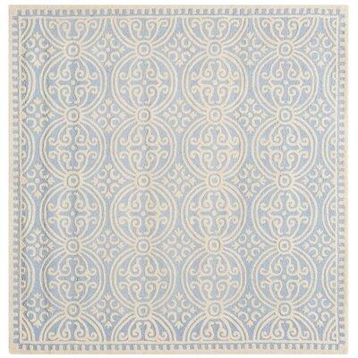 Martins Light Blue & Ivory Area Rug Rug Size: Square 8