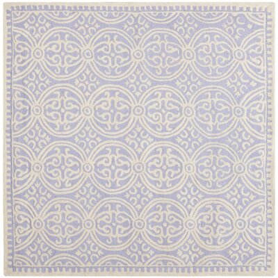 Martins Hand-Tufted Wool Lavender/Ivory Area Rug Rug Size: Square 4