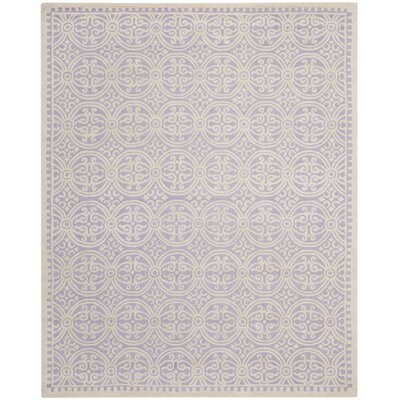 Martins Hand-Tufted Wool Lavender/Ivory Area Rug Rug Size: Rectangle 9 x 12