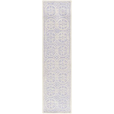 Martins Hand-Tufted Wool Lavender/Ivory Area Rug Rug Size: Runner 26 x 8