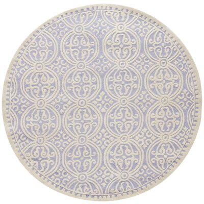 Martins Hand-Tufted Wool Lavender/Ivory Area Rug Rug Size: Round 8