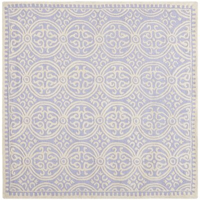 Martins Hand-Tufted Wool Lavender/Ivory Area Rug Rug Size: Square 8 x 8