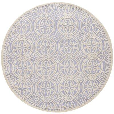 Martins Lavender/Ivory Rug Rug Size: Round 8