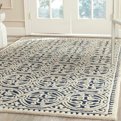 Fairburn Hand-Woven Wool Navy/Ivory Area Rug Rug Size: Rectangle 7 x 9