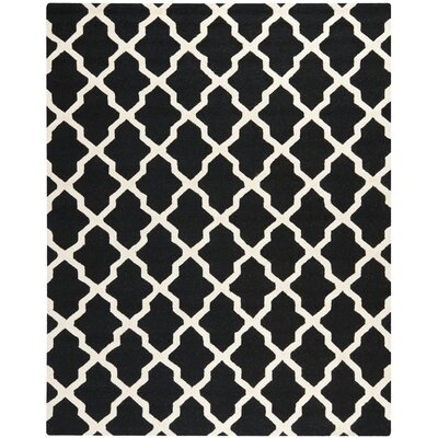 Charlenne Black & Ivory Area Rug Rug Size: Rectangle 8 x 10
