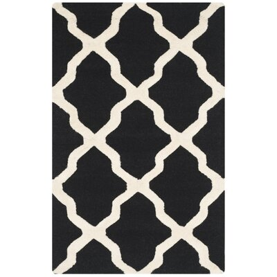 Charlenne Black & Ivory Area Rug Rug Size: Rectangle 2 x 3