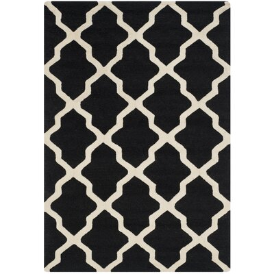 Charlenne Black & Ivory Area Rug Rug Size: Rectangle 4 x 6