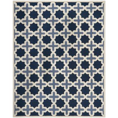 Martins Dark Blue & Ivory Area Rug Rug Size: 10 x 14
