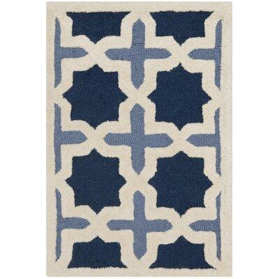 Martins Dark Blue & Ivory Area Rug Rug Size: 2 x 3