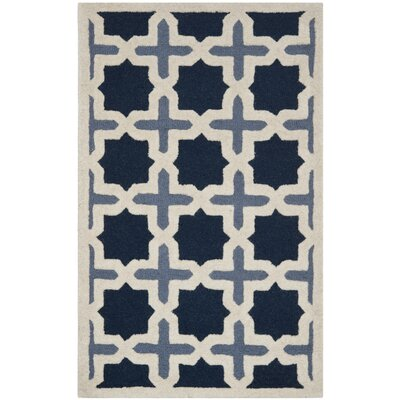 Martins Dark Blue & Ivory Area Rug Rug Size: 3 x 5