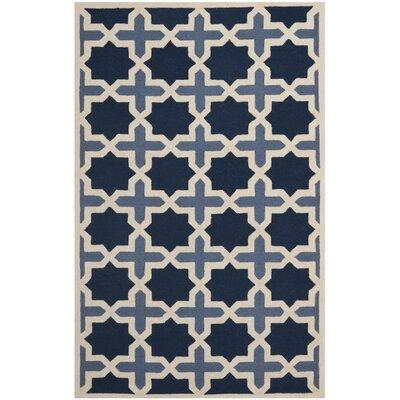 Martins Dark Blue & Ivory Area Rug Rug Size: 5 x 8