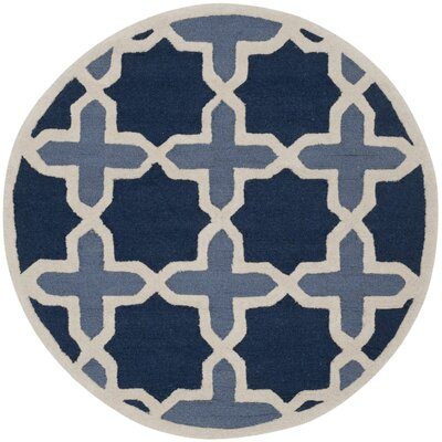 Martins Dark Blue &  Area Rug Rug Size: Round 6
