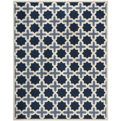 Martins Dark Blue & Ivory Area Rug Rug Size: 8 x 10