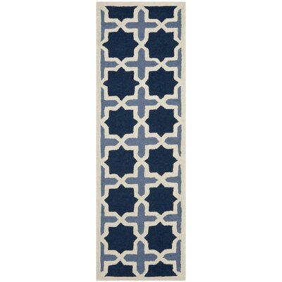 Martins Dark Blue & Ivory Area Rug Rug Size: Runner 26 x 10