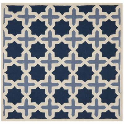 Martins Dark Blue & Ivory Area Rug Rug Size: Square 6
