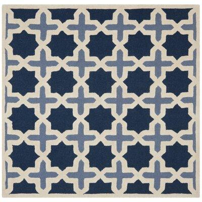 Martins Dark Blue & Ivory Area Rug Rug Size: Square 10