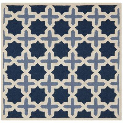 Martins Dark Blue & Ivory Area Rug Rug Size: Square 4
