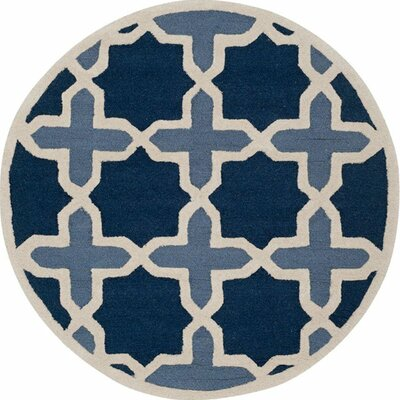 Martins Dark Blue &  Area Rug Rug Size: Round 4