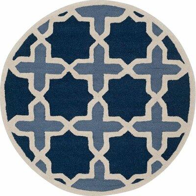 Martins Dark Blue & Ivory Area Rug Rug Size: Round 8
