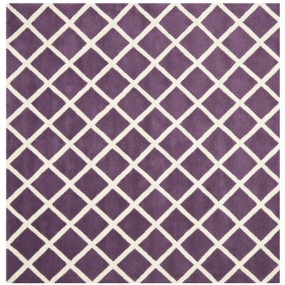 Wilkin Hand-Tufted Wool Purple/Ivory Area Rug Rug Size: Square 7